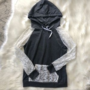 Gray and Lace Hoodie